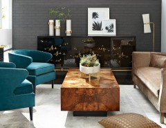 Diamond Vogel Paint for a Midcentury Living Room with a Brown Sofa and Horchow by Horchow