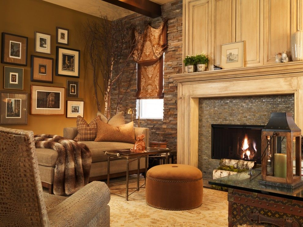 Diamond Vogel Paint for a Traditional Family Room with a Fireplace and Family Room by Interiors by Cary Vogel