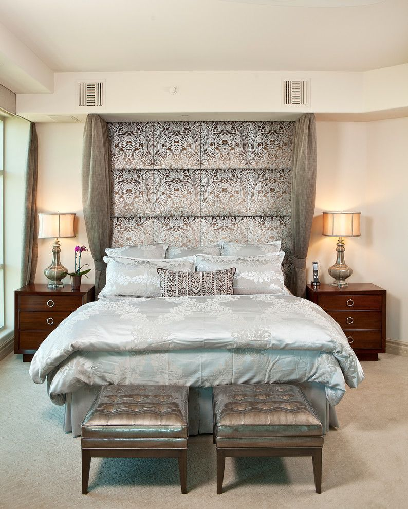 Diamond Vogel Paint for a Transitional Bedroom with a Upholstered Stools and Swanky Apartment by Interiors by Cary Vogel
