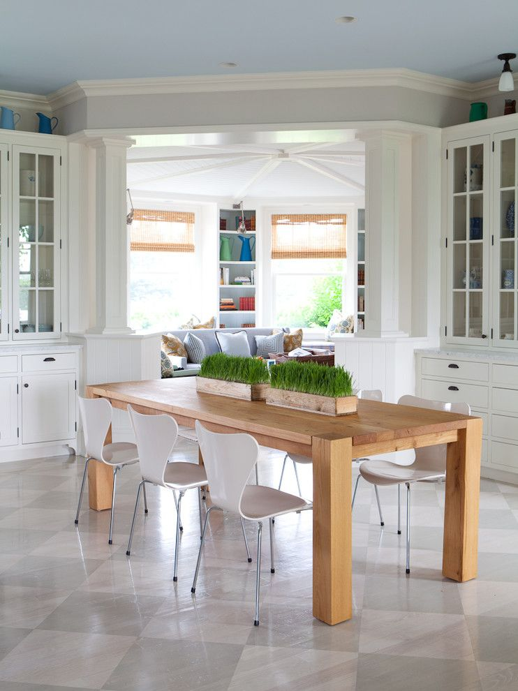 Diamond Vogel Paint for a Transitional Dining Room with a Recessed Lighting and Hamptons, Ny I by Alice Black Interiors