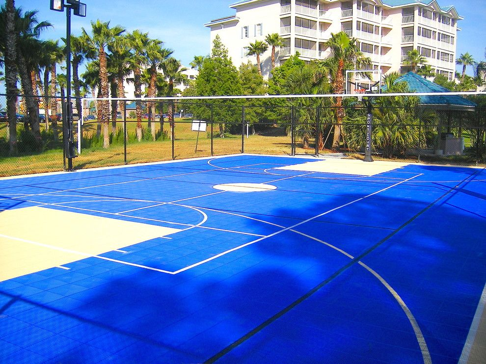 Dimensions of a Basketball Court for a Contemporary Landscape with a Sportscourt and the Fountains at Seaworld Sport Court by Sport Court Cfl