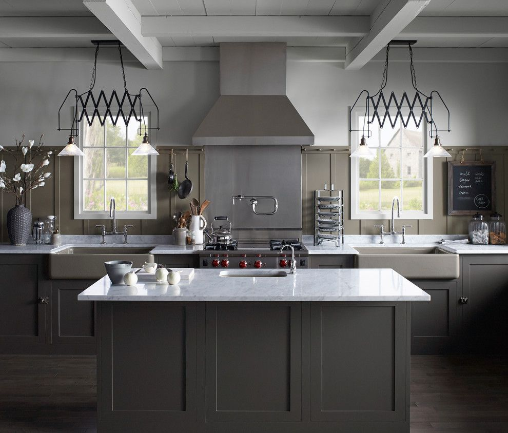 Dimensions of a Basketball Court for a Farmhouse Kitchen with a Rustic Kitchen and Northern Roots Kitchen by Kohler