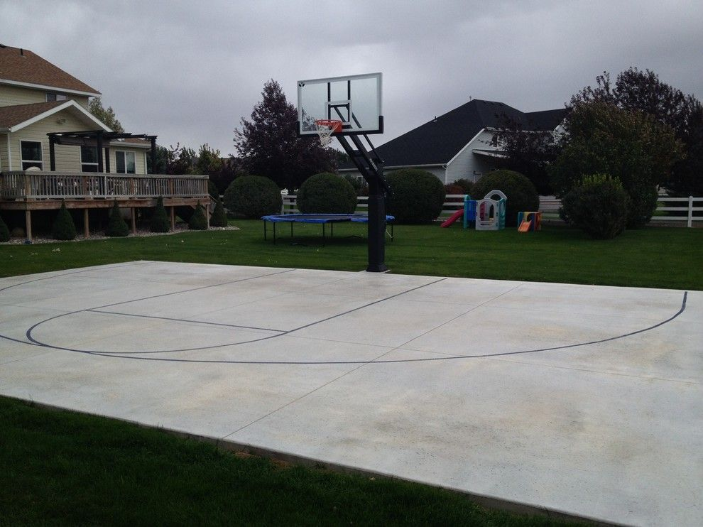 Dimensions of a Basketball Court for a Traditional Landscape with a in Ground Basketball Hoop and Andy T's Pro Dunk Diamond Basketball System on a 44x30 in Pocatello, Id by Pro Dunk Hoops