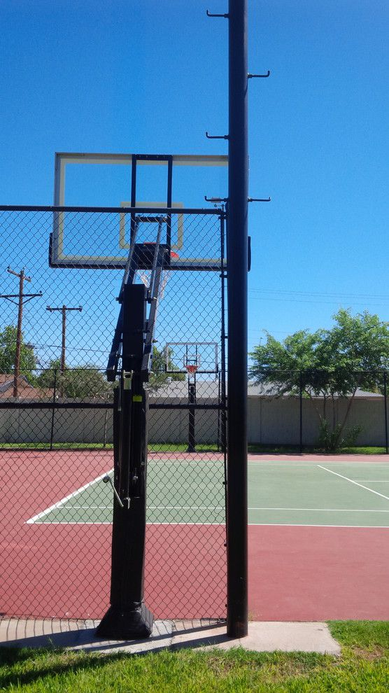 Dimensions of a Basketball Court for a Traditional Landscape with a Outdoor Basketball Goal and Bryce K's Pro Dunk Platinum Basketball System on a 60x60 in Mesa, Az by Pro Dunk Hoops