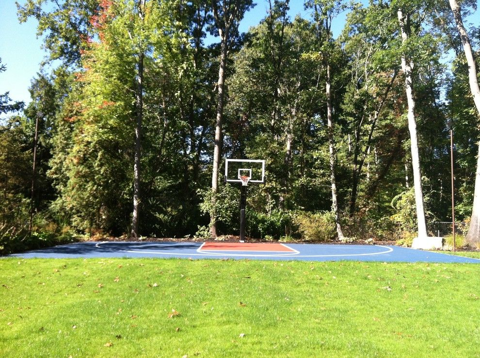 Dimensions of a Basketball Court for a Traditional Landscape with a Striped and Michael L's Pro Dunk Platinum Basketball System on a 48x30 in Sacramento, Ca by Pro Dunk Hoops