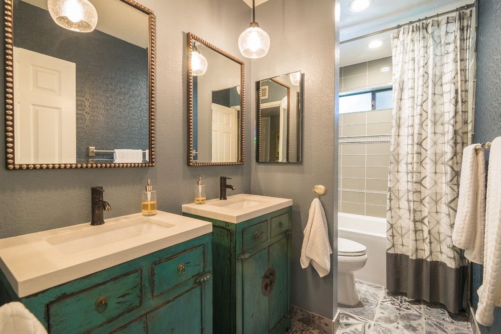 Distressing Furniture for a Transitional Bathroom with a Pendants in Bathroom and Fun Eclectic Spaces by Elle Interiors, Ellinor Ellefson