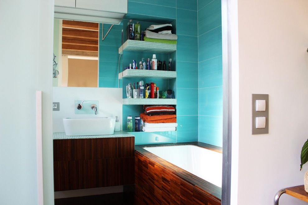 Diy Sunburst Mirror for a Industrial Bathroom with a Aqua Tile and My Houzz: Diy Love Pays Off in a Small Prague Apartment by Martin Hulala