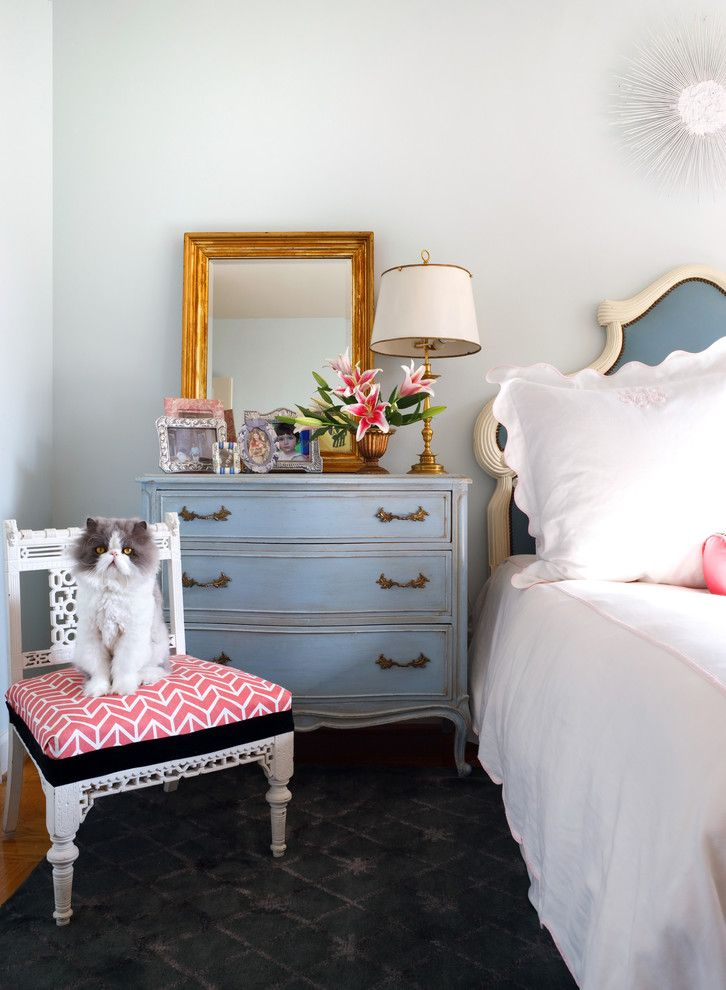 Diy Sunburst Mirror for a Shabby Chic Style Bedroom with a White Side Chair and Bedroom by Sara Tuttle Interiors