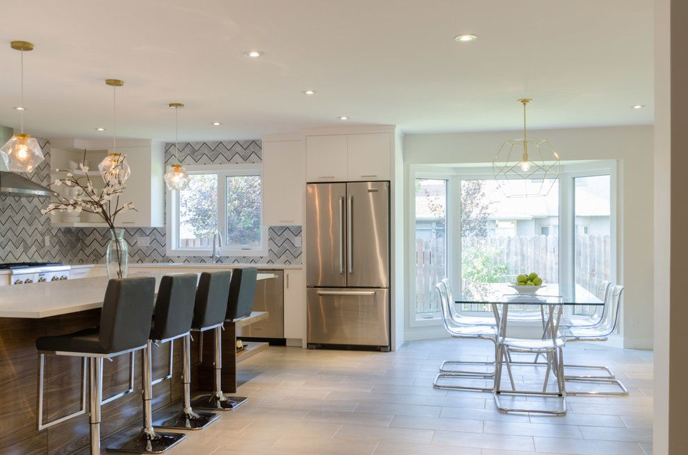 Dlux for a Contemporary Kitchen with a Barstools and Lindenwoods by Dlux Design & Co.
