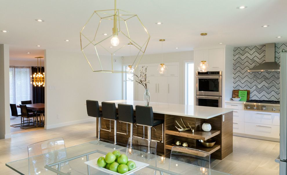 Dlux for a Contemporary Kitchen with a Built in Pantry and Lindenwoods by DLUX Design & Co.