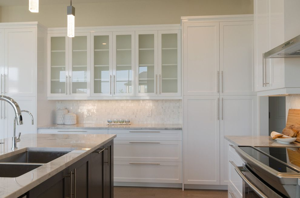 Dlux for a Transitional Kitchen with a Blue and Clear Spring by Dlux Design & Co.