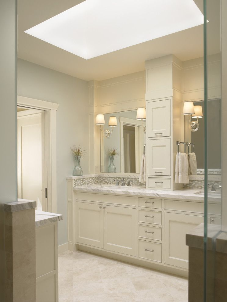 Do I Need a Boxspring for a Traditional Bathroom with a White Wood and Presidio Heights Pueblo Revival   Bath Vanities by Gast Architects