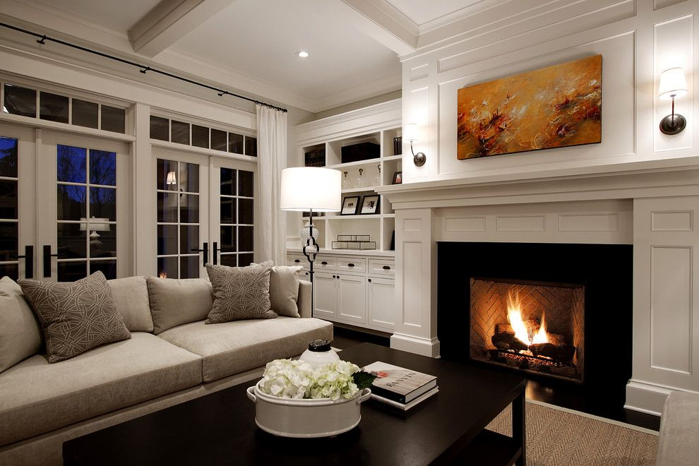 Do I Need a Boxspring for a Traditional Living Room with a Wood Surround and Living Room by Paul Moon Design