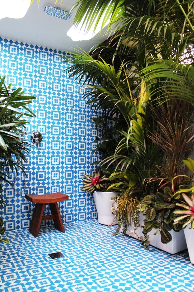 Dolphin Carpet and Tile for a Mediterranean Patio with a Fez Design and Adrianna Lopez Long Beach House by Granada Tile