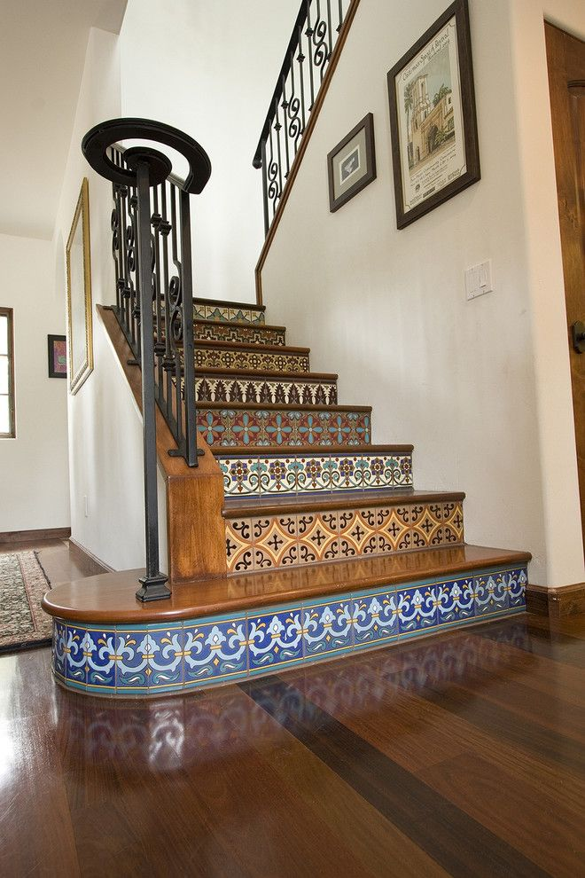 Dolphin Carpet and Tile for a Mediterranean Staircase with a Staircase and Mediterranean Staircase by Ambiencephoto.com