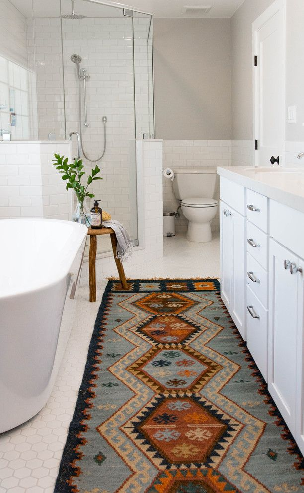 Dolphin Carpet and Tile for a Transitional Bathroom with a Fixer Upper and Modern Farmhouse by Rebecca Interiors & Design by Numbers