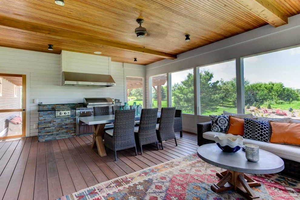 Donald Fagan for a Contemporary Porch with a Grill and Lake Elmo Screened Porch by Mcdonald Remodeling