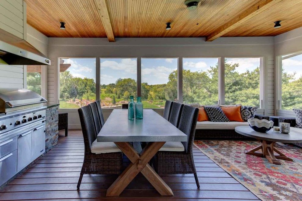 Donald Fagan for a Contemporary Porch with a Tv and Lake Elmo Screened Porch by Mcdonald Remodeling
