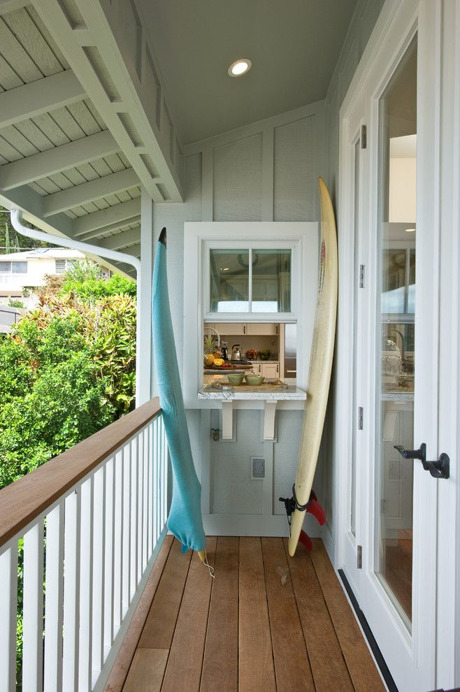 Door Jambs for a Tropical Balcony with a Railing and 2013 Sustainability at Wa'ahila by Mokulua High Performance Builder