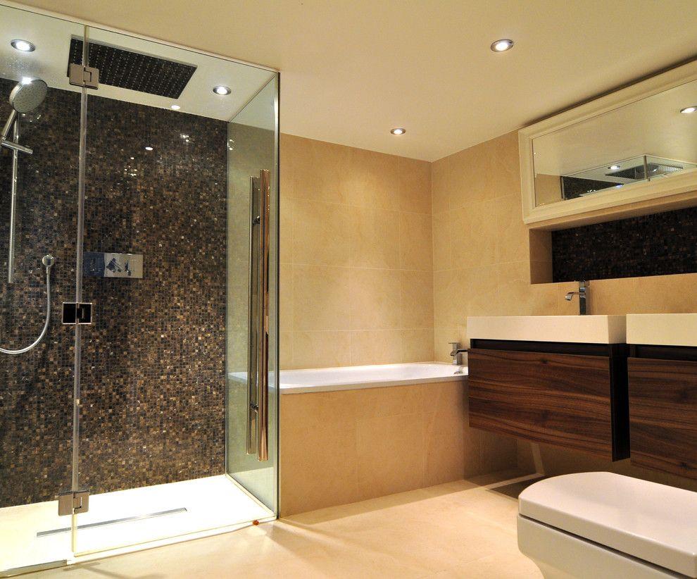Door Jams for a Contemporary Bathroom with a Under Sink Storage and Contemporary Spa Bathroom by Kia Designs