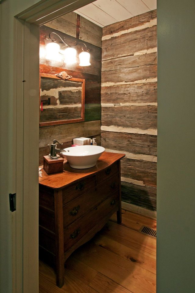 Door Jams for a Rustic Bathroom with a Guest Bathroom and North Georgia Log Cabin by Clark & Zook Architects, Llc