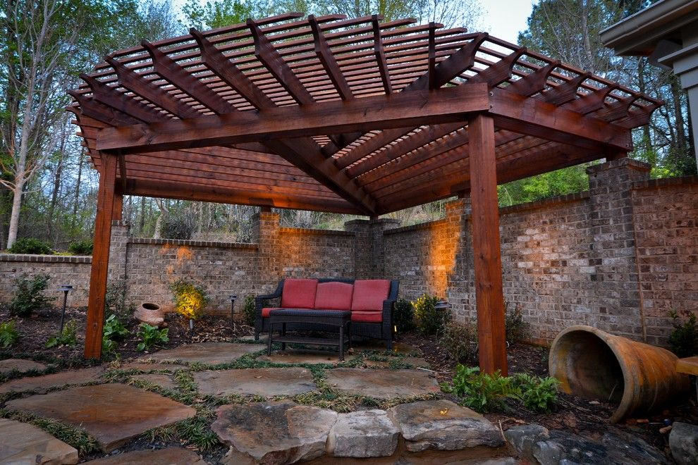 Dover Pools for a Rustic Patio with a Waterfall and Paradise Cove Canton Georgia by Georgia Classic Pool