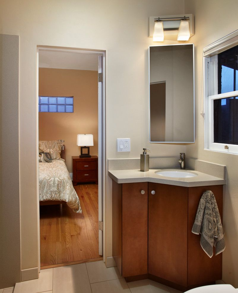 Dr Energy Saver for a Contemporary Bathroom with a Undermount Sink and a Small Green Home by Greener Lives Llc