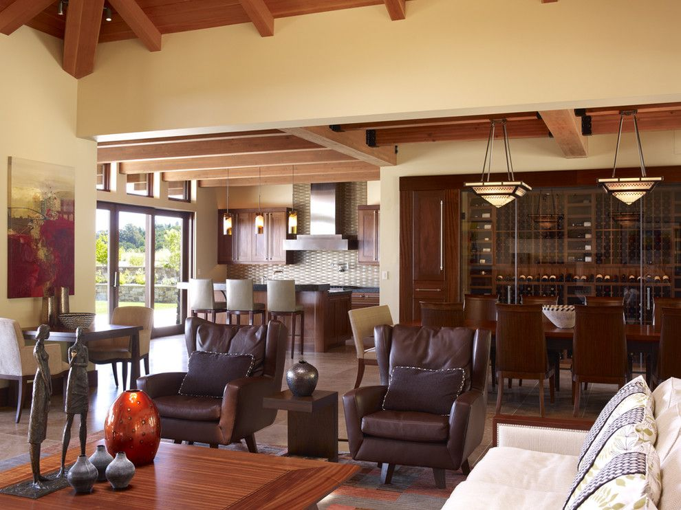 Dr Energy Saver for a Contemporary Living Room with a Wine Storage and Earthy Modern by Noel Cross+Architects