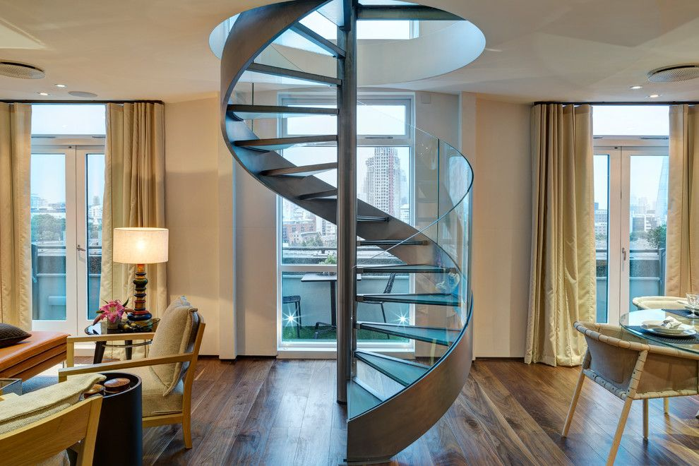 Dr Energy Saver for a Contemporary Staircase with a Metal and Glass and London Penthouse Apartment by Hartmann Designs Limited