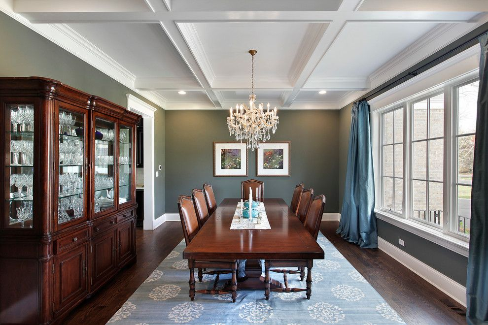 Drakes Landing for a Traditional Dining Room with a Blue Curtains and Design/build Winnetka by Sterling Wilson Design
