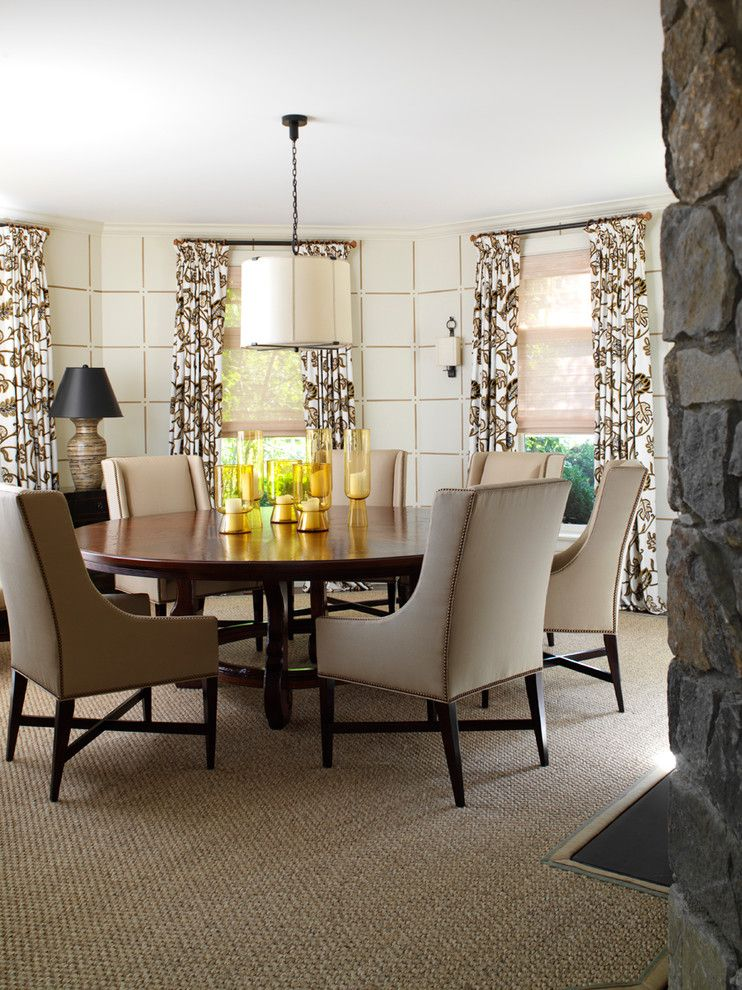Drakes Landing for a Traditional Dining Room with a Curtain Panels and Bridgehampton Estate by David Scott Interiors