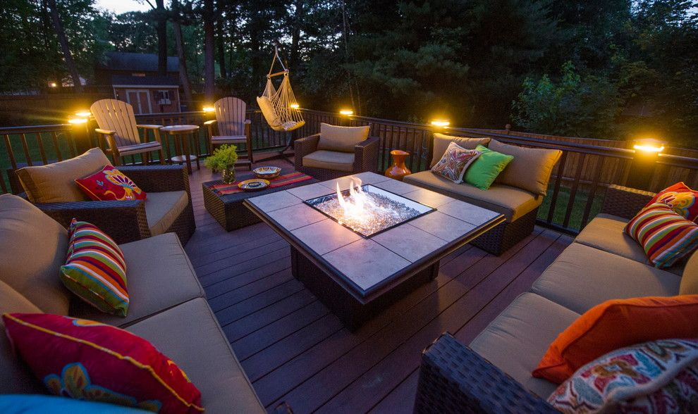 Dream Finders Homes for a Modern Deck with a Fire Pit and Clifton Park Deck by Bespoke Decor