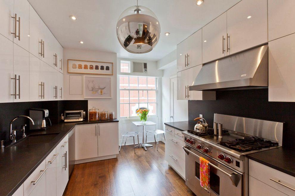 Dry Bar Upper East Side for a Modern Kitchen with a White and Black Kitchen and Upper East Side Apartment by Jendretzki Llc