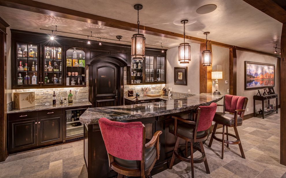 Dry Bar Upper East Side for a Rustic Home Bar with a Under Counter Refrigerator and Timber Frame Contemporary by Damon Searles Photography