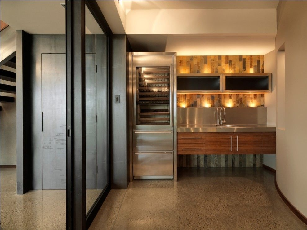 Dry Bar Upper East Side for a Rustic Kitchen with a Sliding Doors and Quaker Bluff Residence by Birdseye Design
