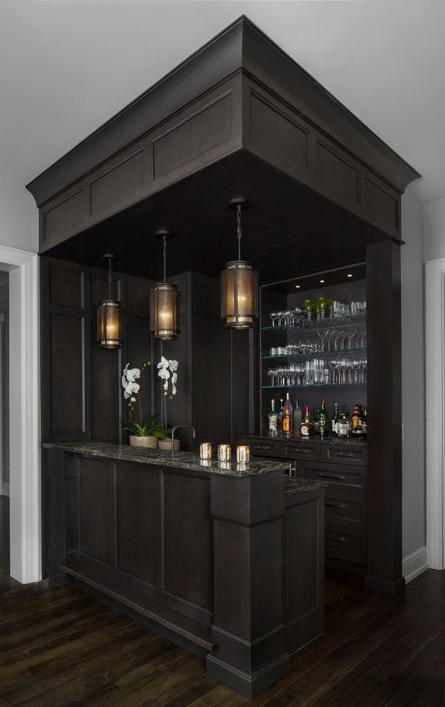 Dry Bar Upper East Side for a Transitional Home Bar with a Glassware and Amw Design Suffield by Amw Design Studio
