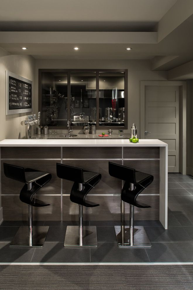 Dry Bar Upper West Side for a Contemporary Home Bar with a Man Cave and Basement Bar and Brewery by Just Basements