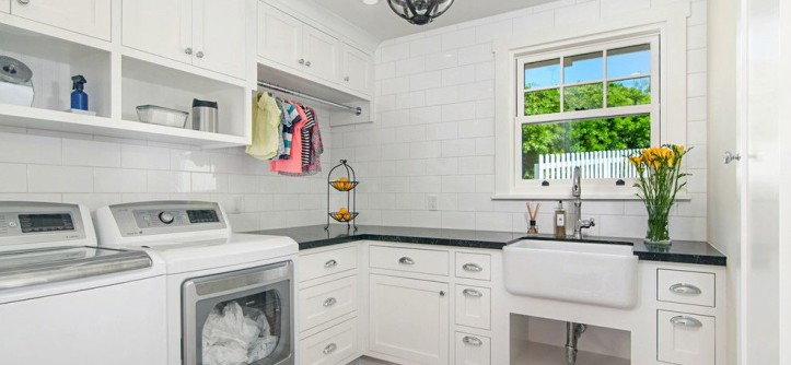 Dry Bar Upper West Side for a Traditional Laundry Room with a Farmhouse Sink and Cape Cod in Del Mar by Hamilton-Gray Design, Inc.