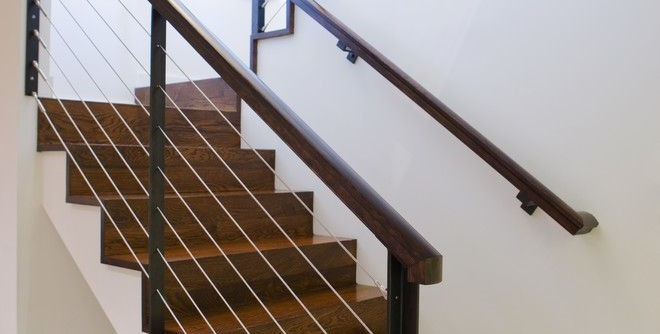 Drywall Textures for a Modern Staircase with a Cable Railing and NW HOMES by Vanillawood