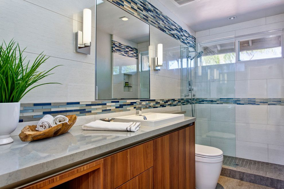 Duravit Usa for a Contemporary Bathroom with a Cabinetry and Guest Bath Encinitas by Signature Designs Kitchen & Bath