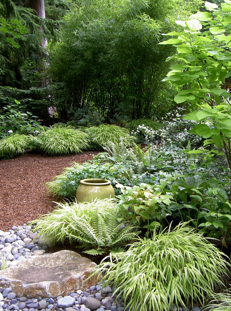 Dutalier for a Contemporary Landscape with a Forest and Lytle Road, Bainbridge Island   Shaded Creek by Bliss Garden Design