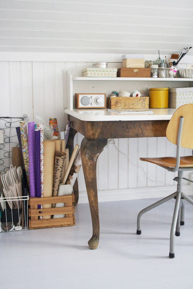 Earth Sheltered Homes for a Shabby Chic Style Home Office with a Beadboard and Home Office by Jeanette Lunde