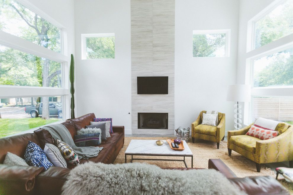 Eclipse Window Tinting for a Contemporary Living Room with a Yellow Armchairs and My Houzz: Bright and Boho Austin Home Inspired by a Local Hot El by Heather Banks
