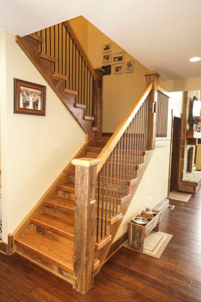 Ecosmart for a Rustic Staircase with a Net Zero Homes and Grand Teton Eco Smart Home | Naperville, Il by Djk Custom Homes
