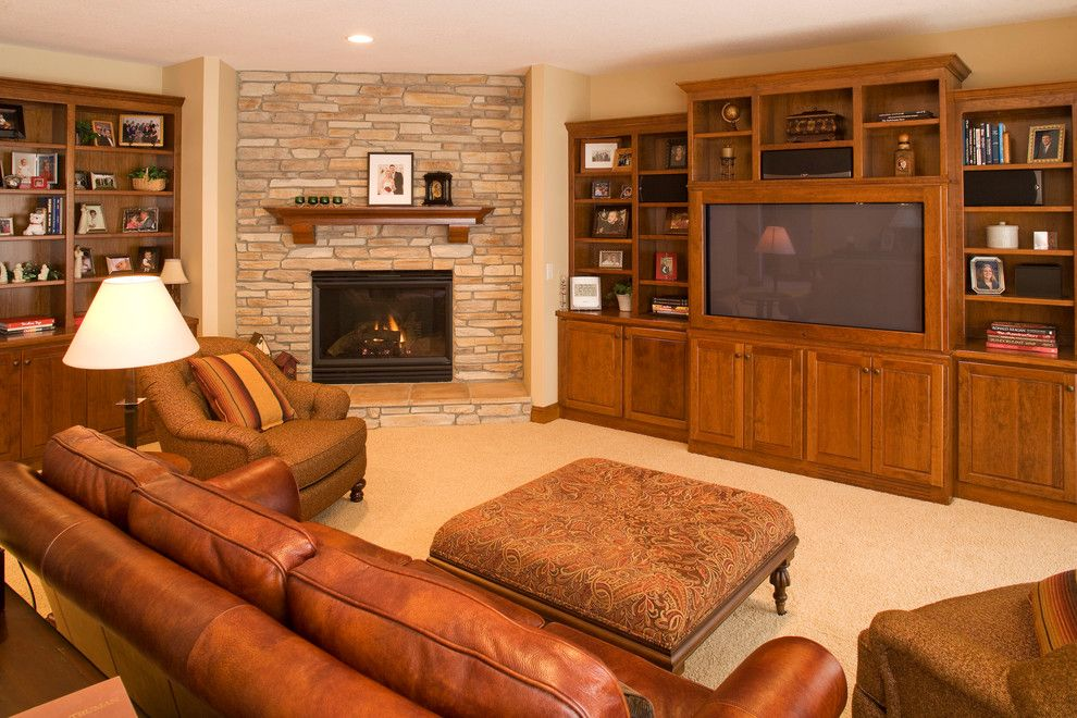 Eden Prairie Appliance for a Traditional Basement with a Built in Bookcase and Eden Prairie Custom Home by Durst & Gans Building Corp