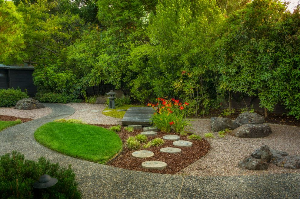 Edens Garden for a Asian Landscape with a Path and Atherton Japanese Garden by Kikuchi + Kankel Design Group