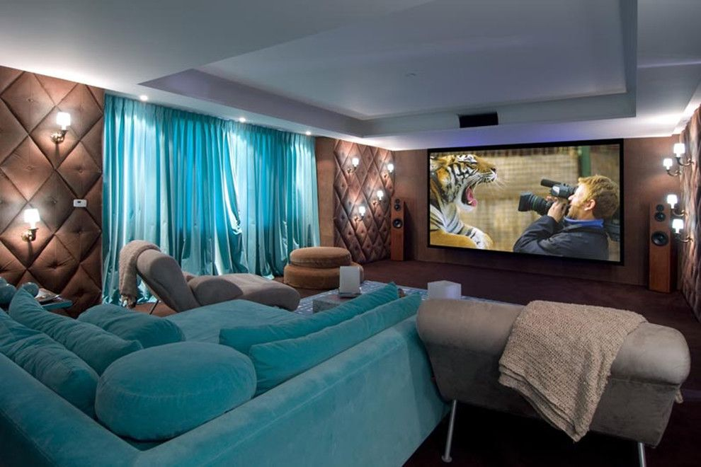 Edina Movie Theater for a Contemporary Home Theater with a Curtain and Home Theaters by Pampa Tiles Usa