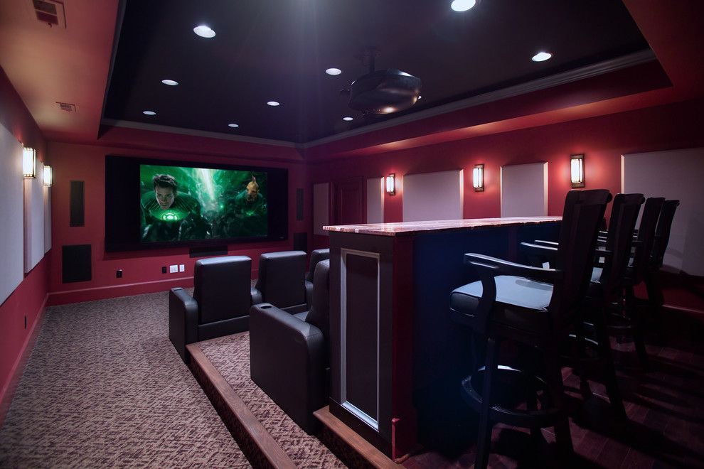 Edina Movie Theater for a Traditional Home Theater with a Media Room and Media Room and Home Theater by Rule4 Building Group