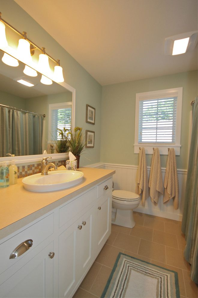 Edith Wharton House for a Beach Style Bathroom with a Leed Certified Platinum and Summers Gate Eight Cottage by Cottage Home, Inc.