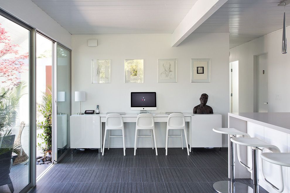 Eichler House for a Midcentury Home Office with a Caesarstone and Double Gable Eichler Remodel by Klopf Architecture